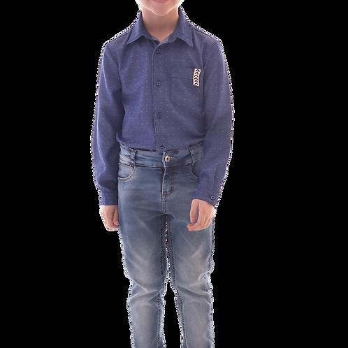 Conjunto Camisa Maquineta Manga Longa e Calça Jeans