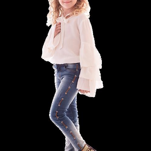 Calça Jeans Elastano Ilhoses Laterais