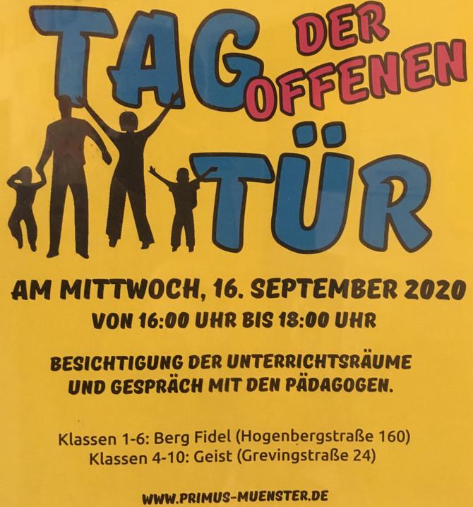 Tag der offenen Tür (16.Sept. 16:00-18:00)Bitte anmelden unter : reinhard.staehling@primus.ms.de