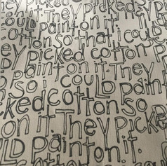"""Detail of """" Burden moving forward"""" Drawing printed on fabric."""