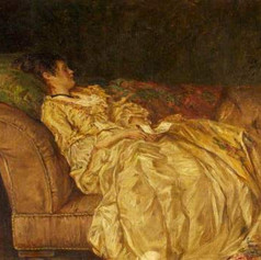 """""""Women reclining on a couch"""" by Walter Bayes"""