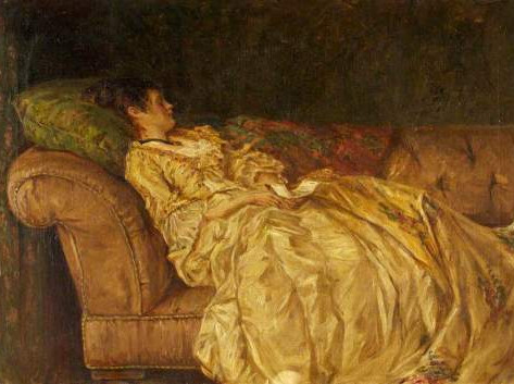 """Women reclining on a couch"" by Walter Bayes"
