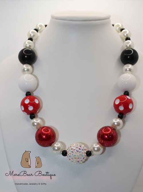 White, Black, and Red Bubblegum Necklace