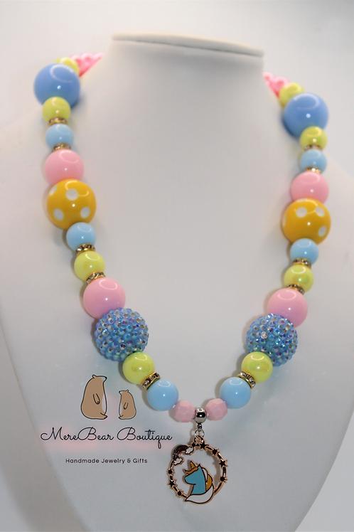 Blue & Yellow Unicorn Bubblegum Bead Necklace