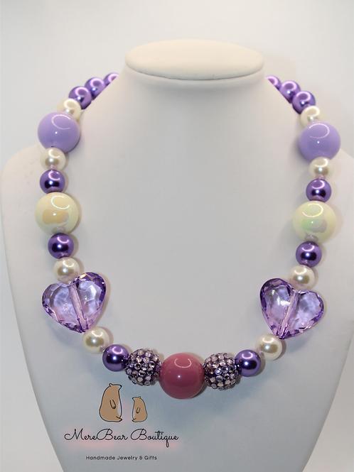 Purple Heart Bubblegum Bead Necklace