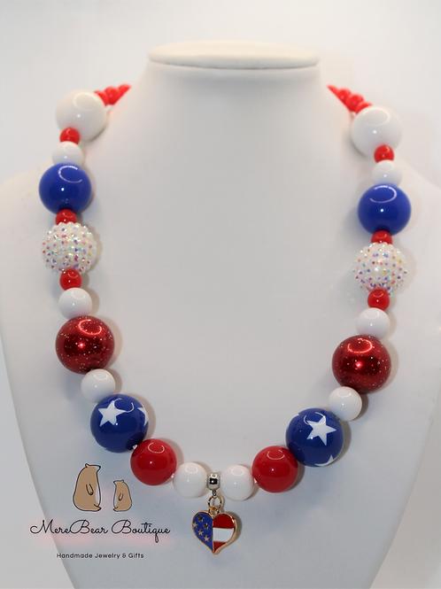 America The Beautiful Bubblegum Bead Necklace