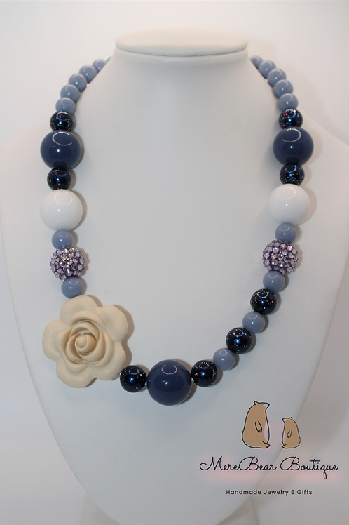 Steel Blue and Beige Silicon Rose Bubblegum Necklace