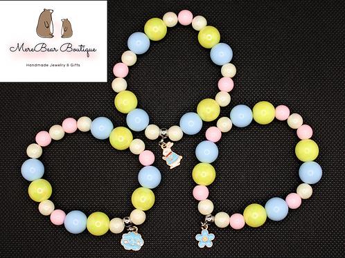 Easter Bubblegum Bead Charm Bracelet Set
