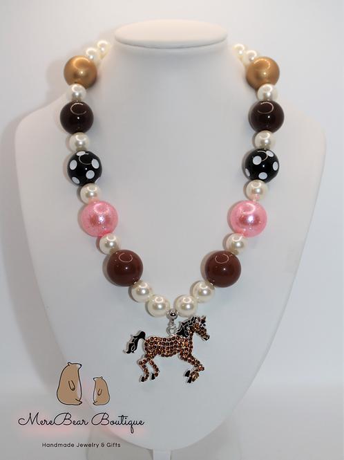 Pink & Brown Horse Bubblegum Necklace
