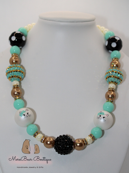 Mint, Black, and Gold Kitty Bubblegum Bead Necklace