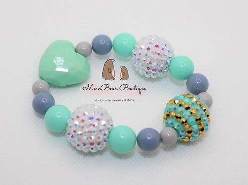 Mint Heart Bubblegum Bead Bracelet