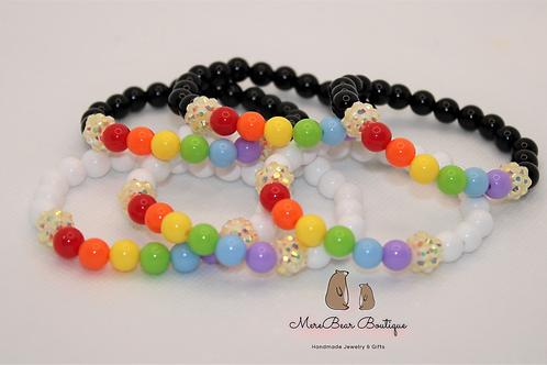 Rainbow and Clouds Stretchy Bubblegum Bead Bracelet