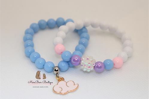 Sky Blue Pink Bubblegum Bracelet Set