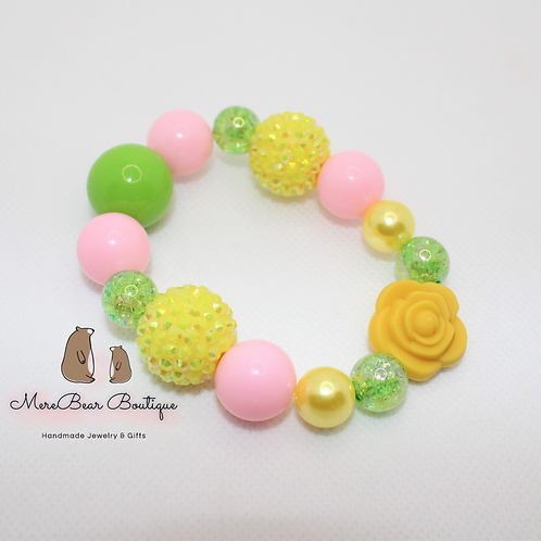 Pink & Yellow Sunflower Bubblegum Bead Bracelet