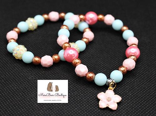 Pink Flower Charm Bubblegum Bead Bracelet Set