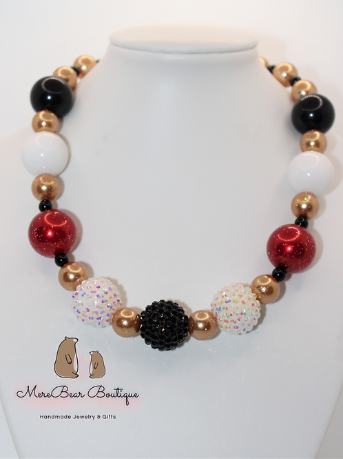 Glittery Gold & Red Bubblegum Necklace