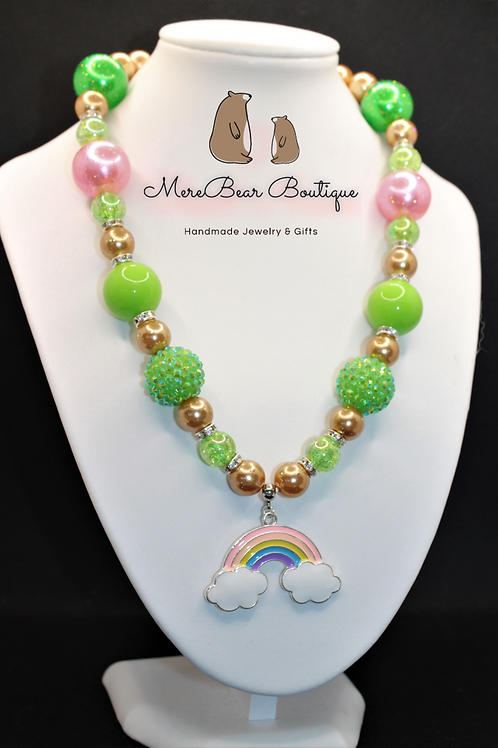St Patrick's Day Bubblegum Bead Rainbow Charm Necklace