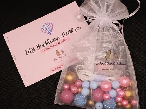 DIY Bubblegum Necklace Kit - Blue, Pink & Gold Shell Charm