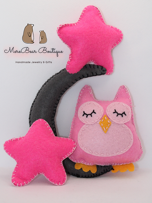 Pink Felt Owl, Stars & Moon Set
