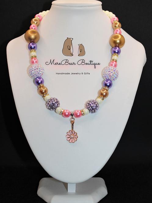 Pink Daisy Charm Bubblegum Bead Necklace