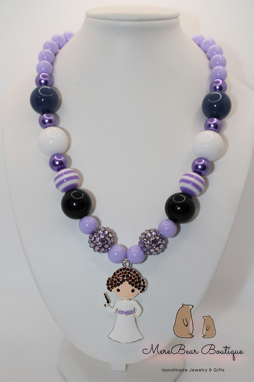 Lavender Princess Leia Charm Bubblegum Necklace