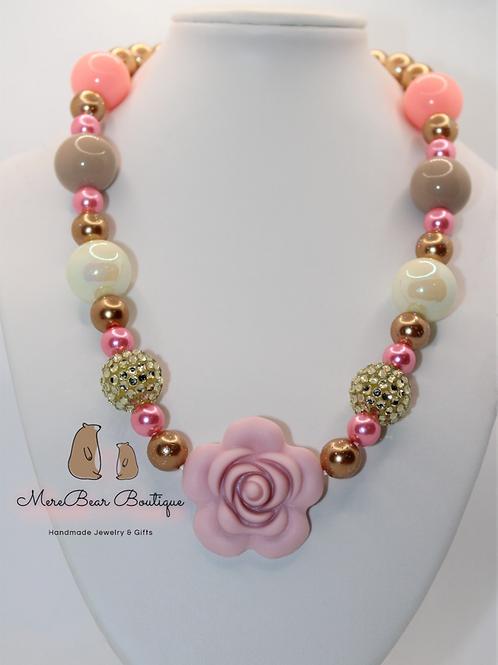 Pink & Gold Rose Bubblegum Bead Necklace