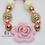 Thumbnail: Pink & Gold Rose Bubblegum Bead Necklace