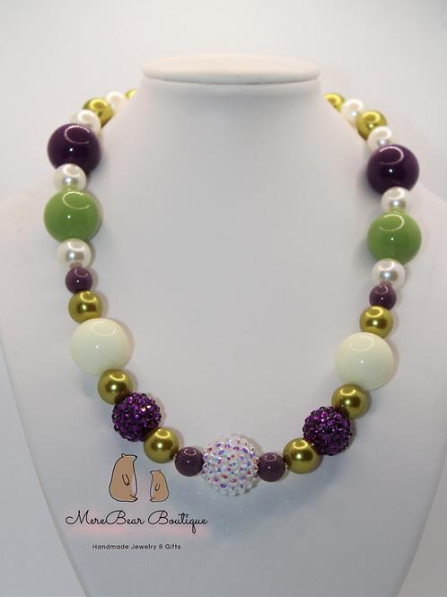 Sage and Plum Bubblegum Bead Necklace