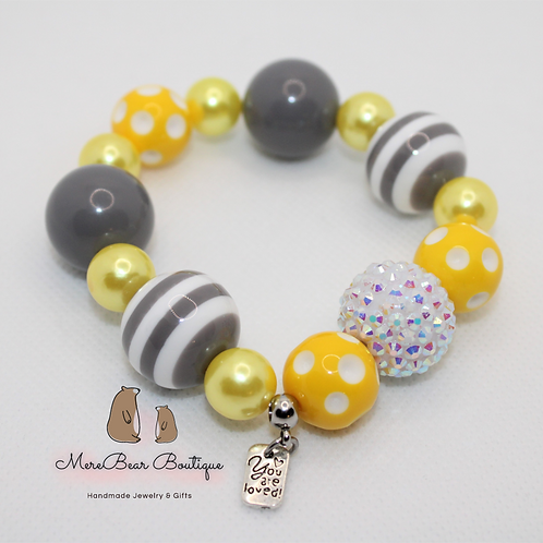 """Grey & Yellow """"You Are Loved"""" Charm Bubblegum Bead Bracelet"""