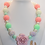 Thumbnail: Mint and Pink Silicon Rose Bubblegum Bead Necklace