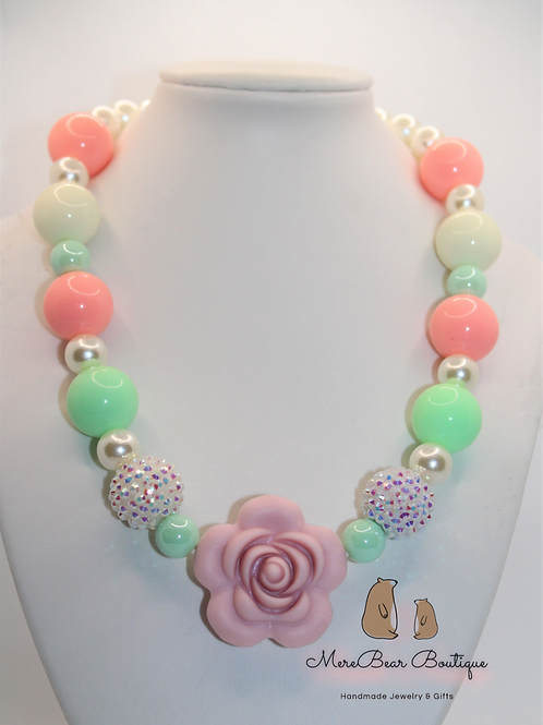 Mint and Pink Silicon Rose Bubblegum Bead Necklace