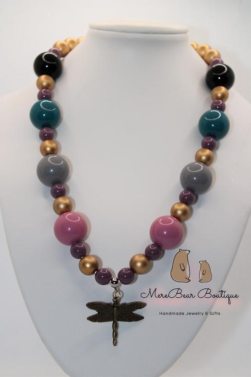 Dragonfly Bubblegum Bead Necklace
