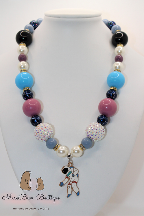 Astronaut Charm Bubblegum Necklace