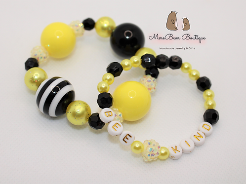 Bee Kind Bubblegum Bead Bracelet Set