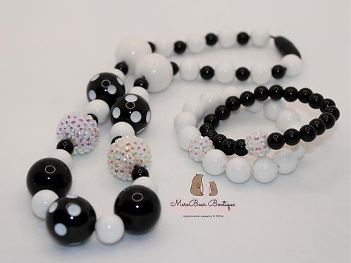Dalmatian Bubblegum Bead Necklace & Bracelet Set