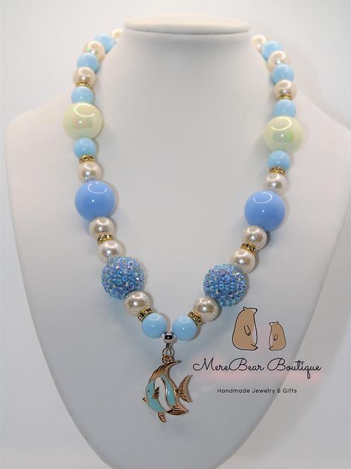 Pastel Blue Fish Bubblegum Bead Necklace