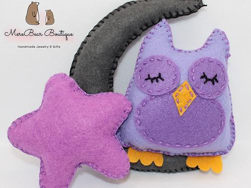Purple Owl, Moon and Star Set