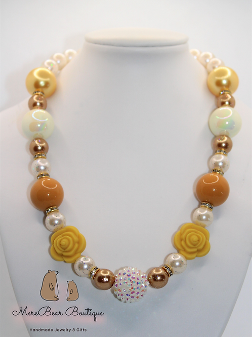 Yellow & Ivory Sunflower Bubblegum Bead Necklace