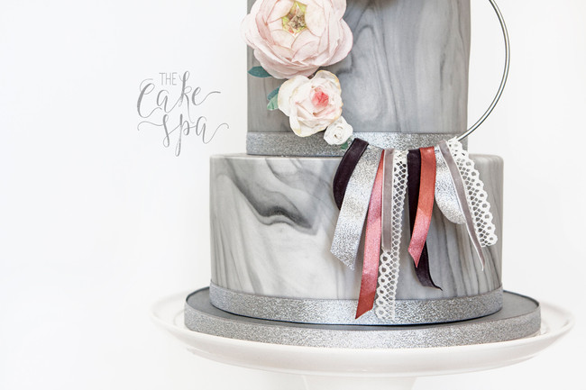 Grey Marble Cake With Pastel Floral Wreath