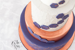 Copper & Navy Geometric Cake with Textured Concrete Buttercream