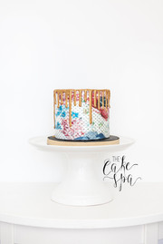 Patterned Wafer Paper Cake with Gold Drip