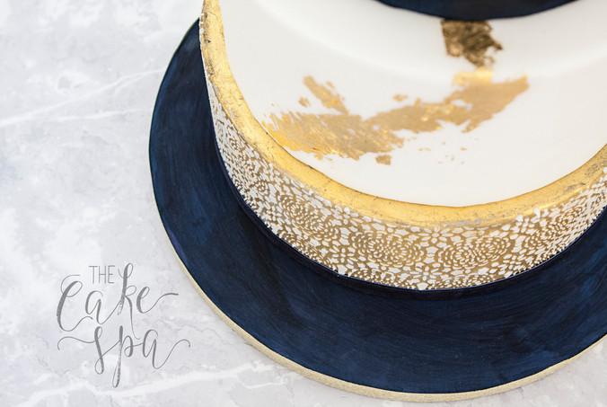 Navy Velvet Effect & Gold Leaf Cake