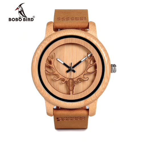 Wood Watch Male Vintage Deer Head Skeleton Design Watch