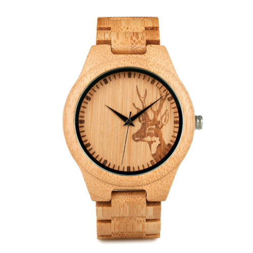 Natural Bamboo Wood Watches With Deer Head Engrave