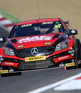 Adam Morgan in the Mac Tools Mercedes for Ciceley Motorsport