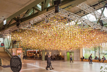 A spring garden installation within Bikini Berlin retail space by Rebecca Louise Law
