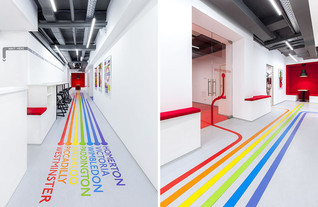 Colourful lines, inspired by the London Underground, will lead you to classrooms at this language sc
