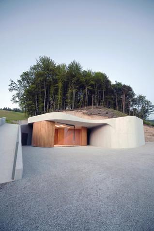 A Curved Concrete Chapel