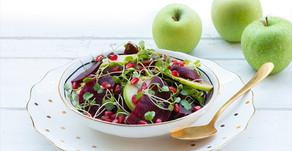 סלט סלק תפוחים רימונים