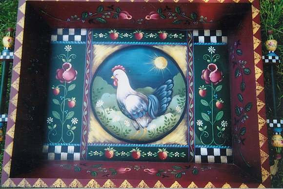 Chicken & Roses Tray 114